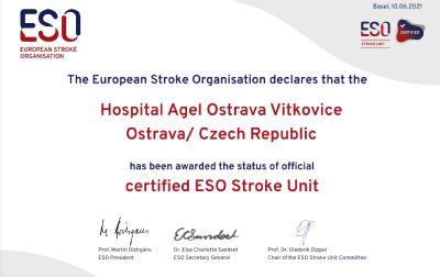 Iktové centrum Nemocnice AGEL Ostrava-Vítkovice již podruhé získalo diamantové evropské ocenění ESO-Angels